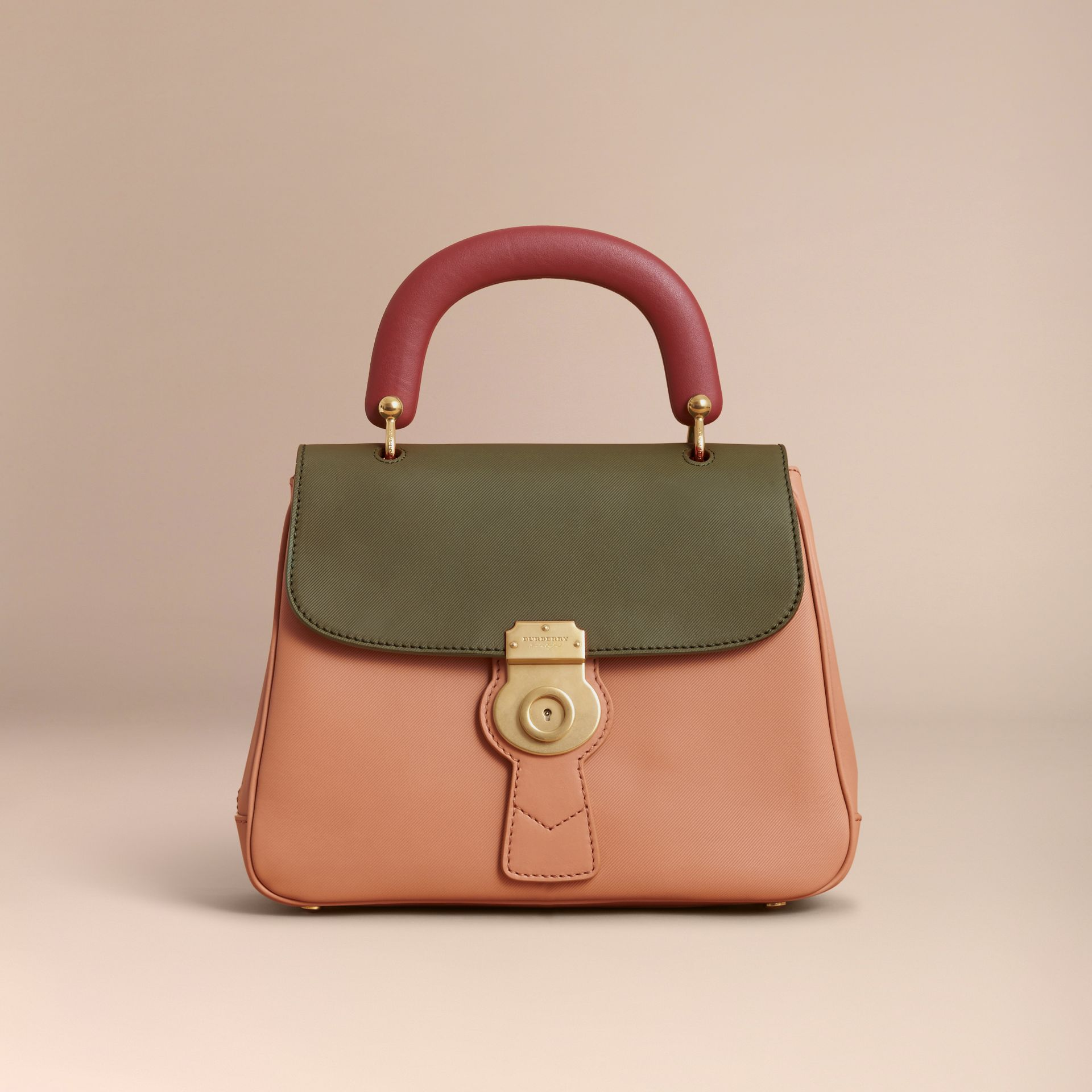 The Medium DK88 Top Handle Bag Pale Clementine/moss Green - gallery image 7