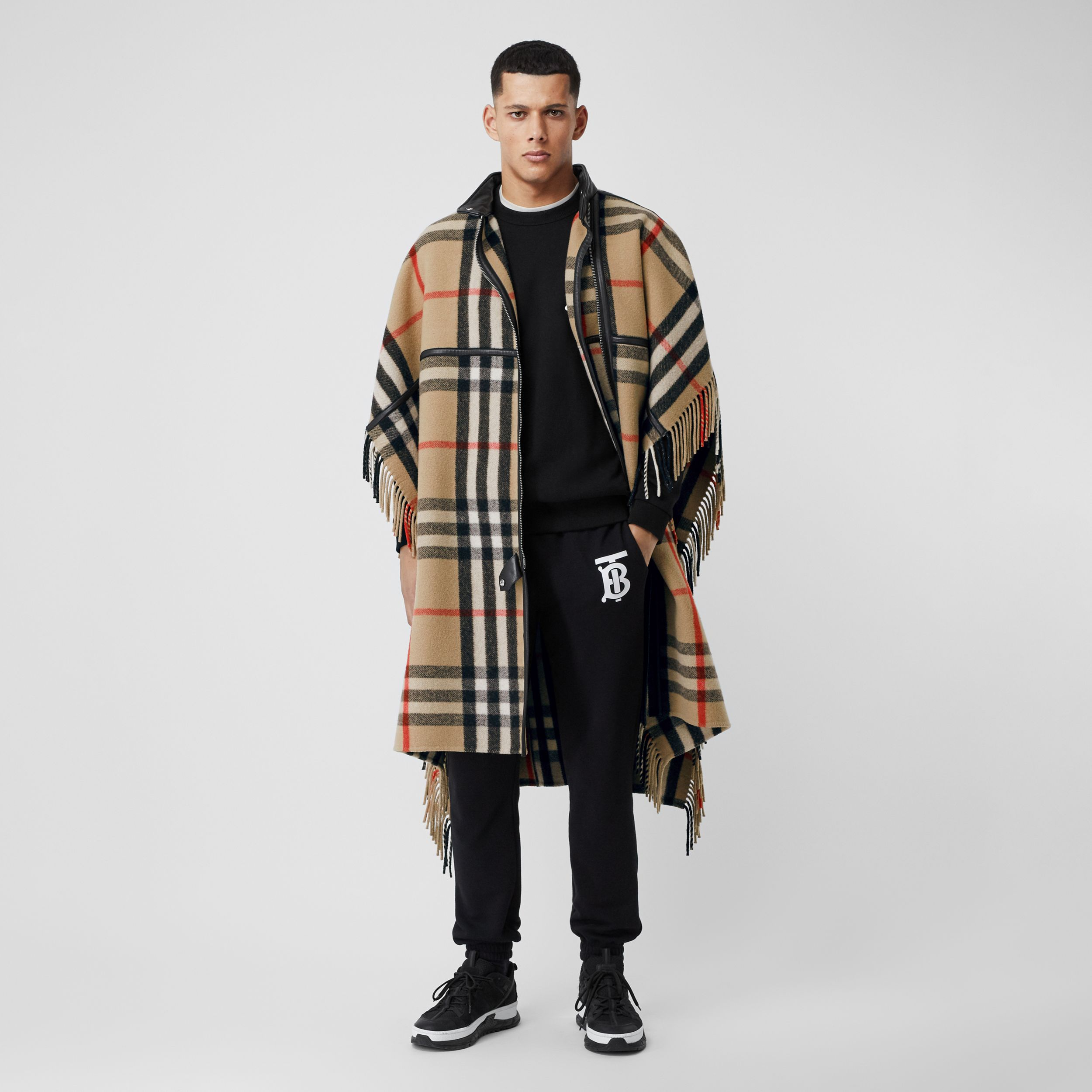 Check Wool Blend Zip-front Cape in Archive Beige | Burberry - 1