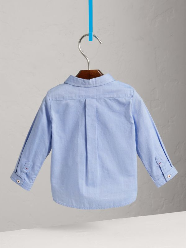Cotton Oxford Shirt in Cornflower Blue - Children | Burberry - cell image 3