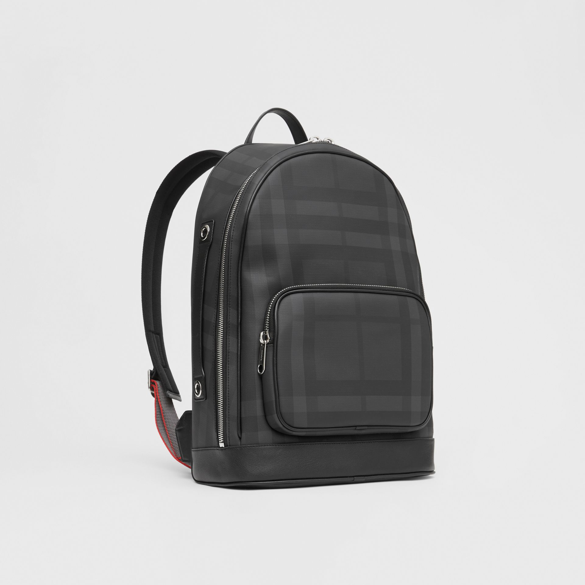 London Check and Leather Backpack in Dark Charcoal - Men | Burberry Hong Kong S.A.R - gallery image 6