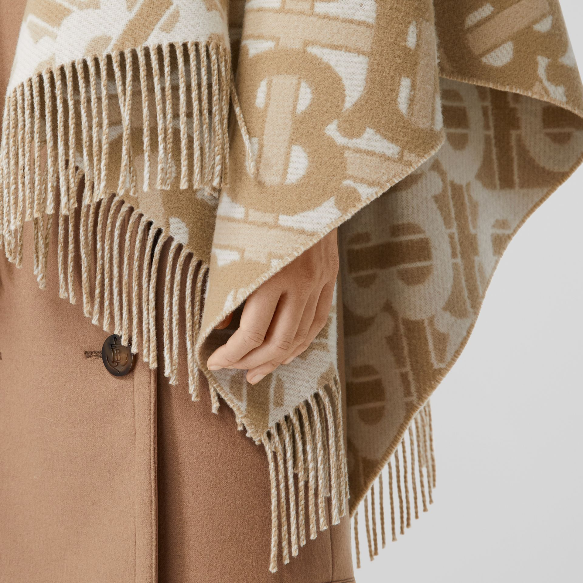 Monogram Merino Wool Cashmere Jacquard Cape in Light Sand - Women | Burberry - gallery image 1