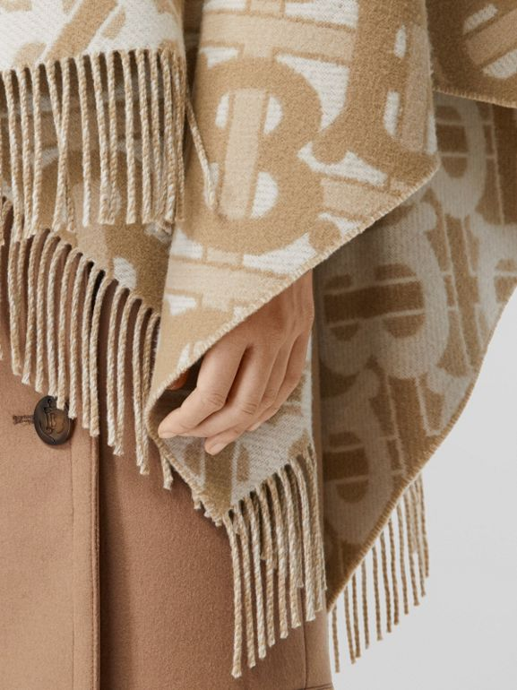 Monogram Merino Wool Cashmere Jacquard Cape in Light Sand - Women | Burberry - cell image 1