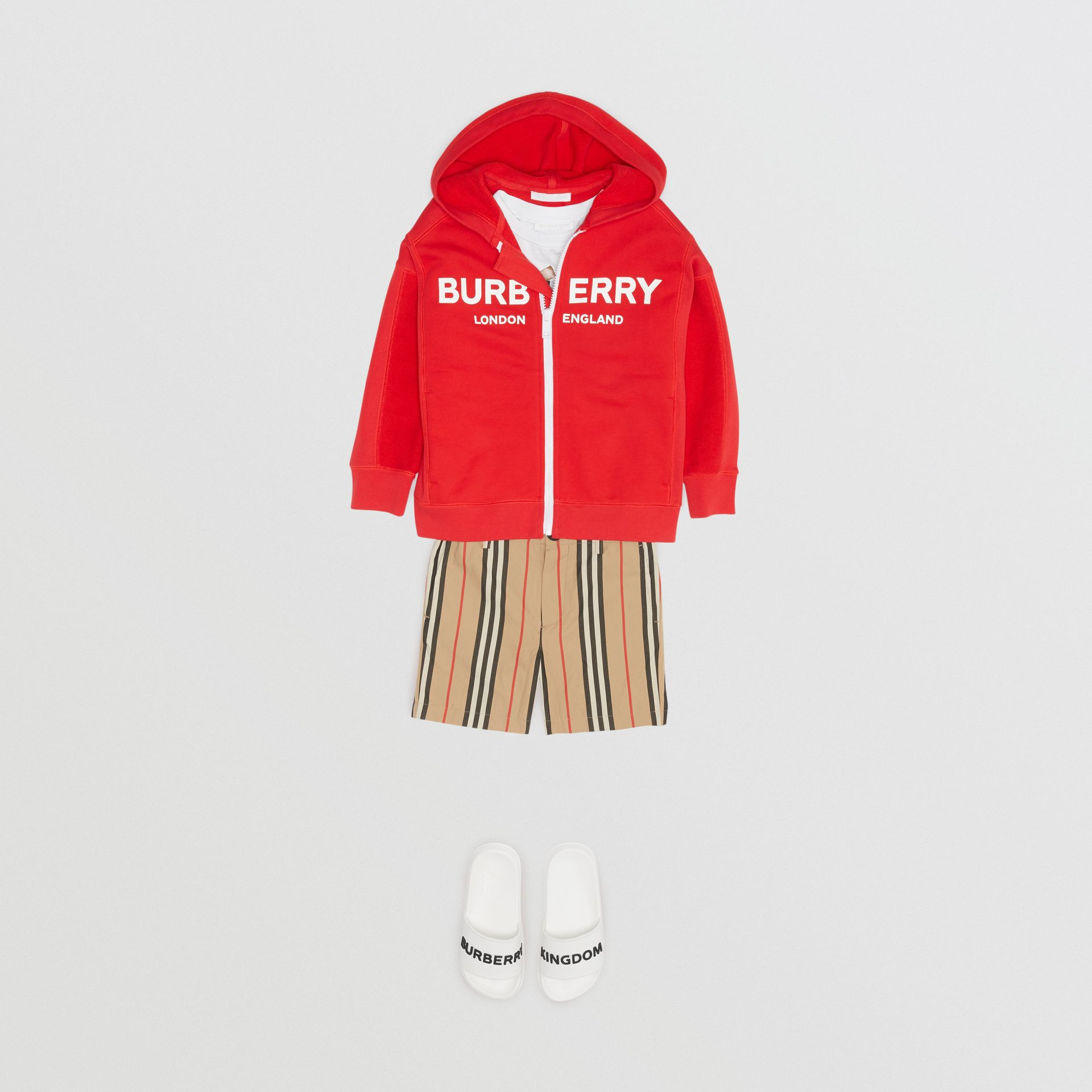 Logo Print Cotton Hooded Top in Bright Red | Burberry - gallery image 3