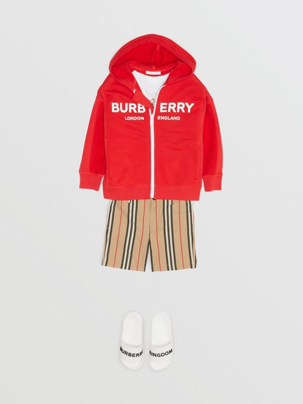 Logo Print Cotton Hooded Top in Bright Red | Burberry - cell image 3