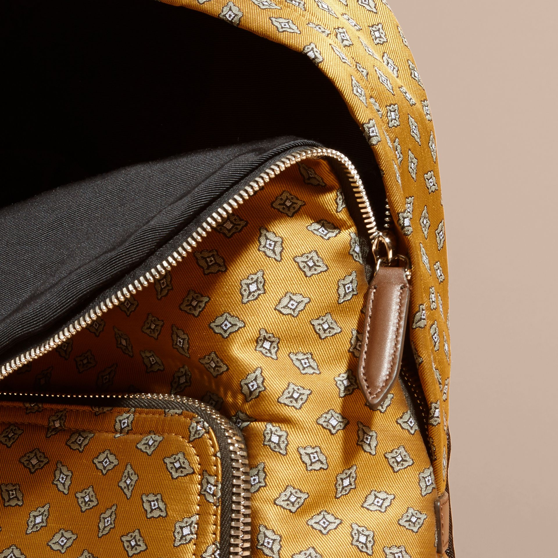Citrus yellow Leather Trim Abstract Jacquard Backpack Citrus Yellow - gallery image 6