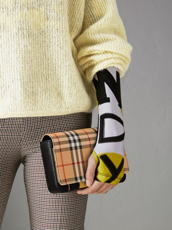 Vintage Check and Leather Wallet with Detachable Strap in Antique Yellow/black - Women | Burberry - cell image 3