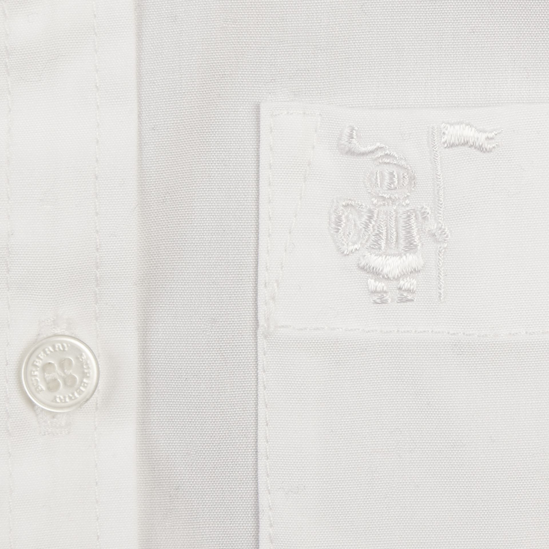 White Short-sleeved Stretch-cotton Oxford Shirt - gallery image 2