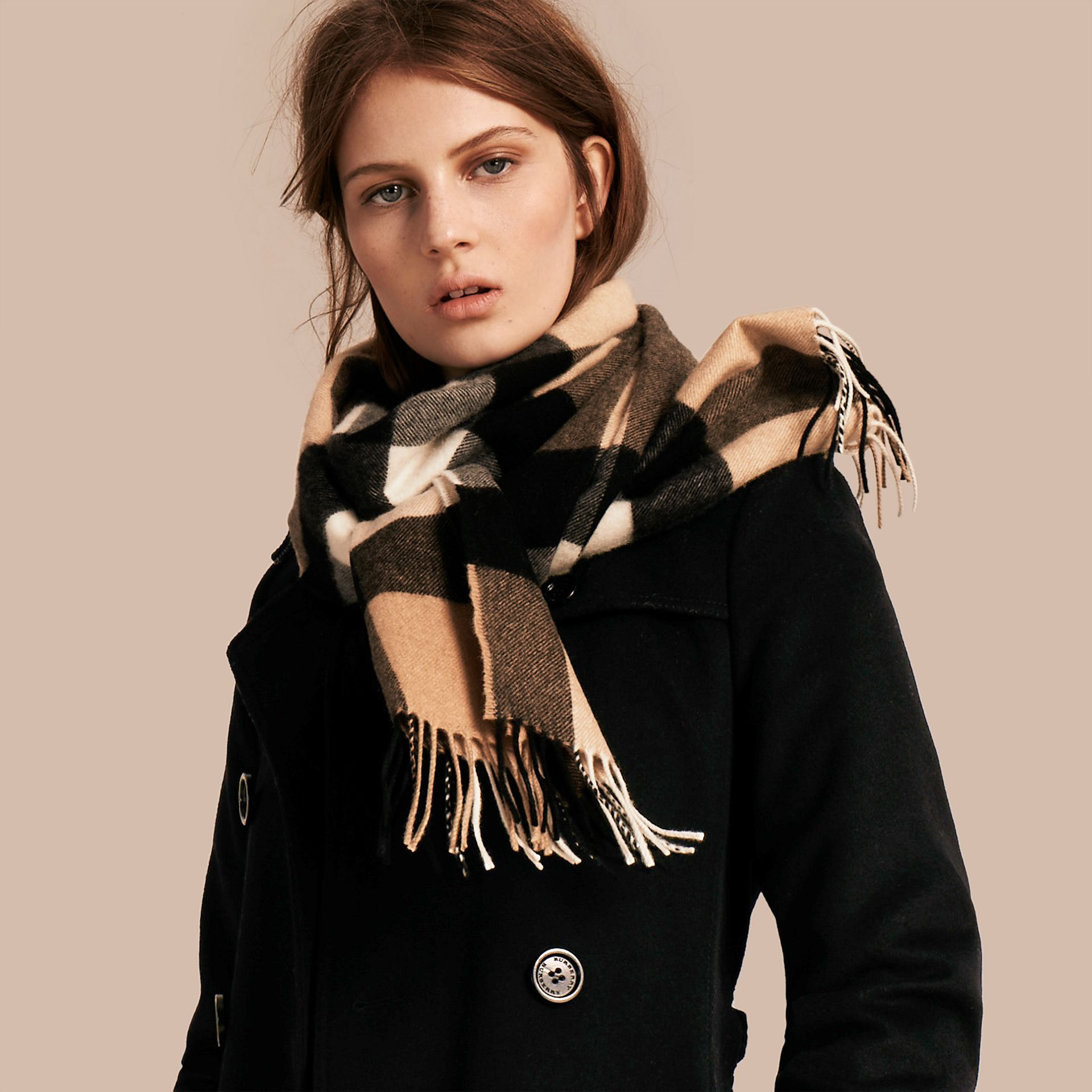 The Large Classic Cashmere Scarf in Check in Camel - gallery image 3