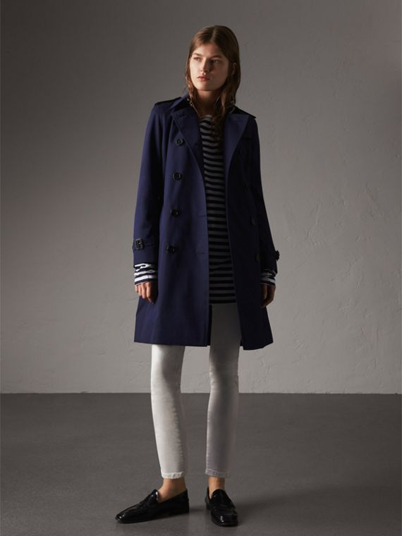 Cotton Gabardine Trench Coat in Blueberry