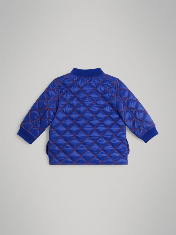Topstitched Quilted Jacket in Brilliant Blue - Children | Burberry - cell image 3