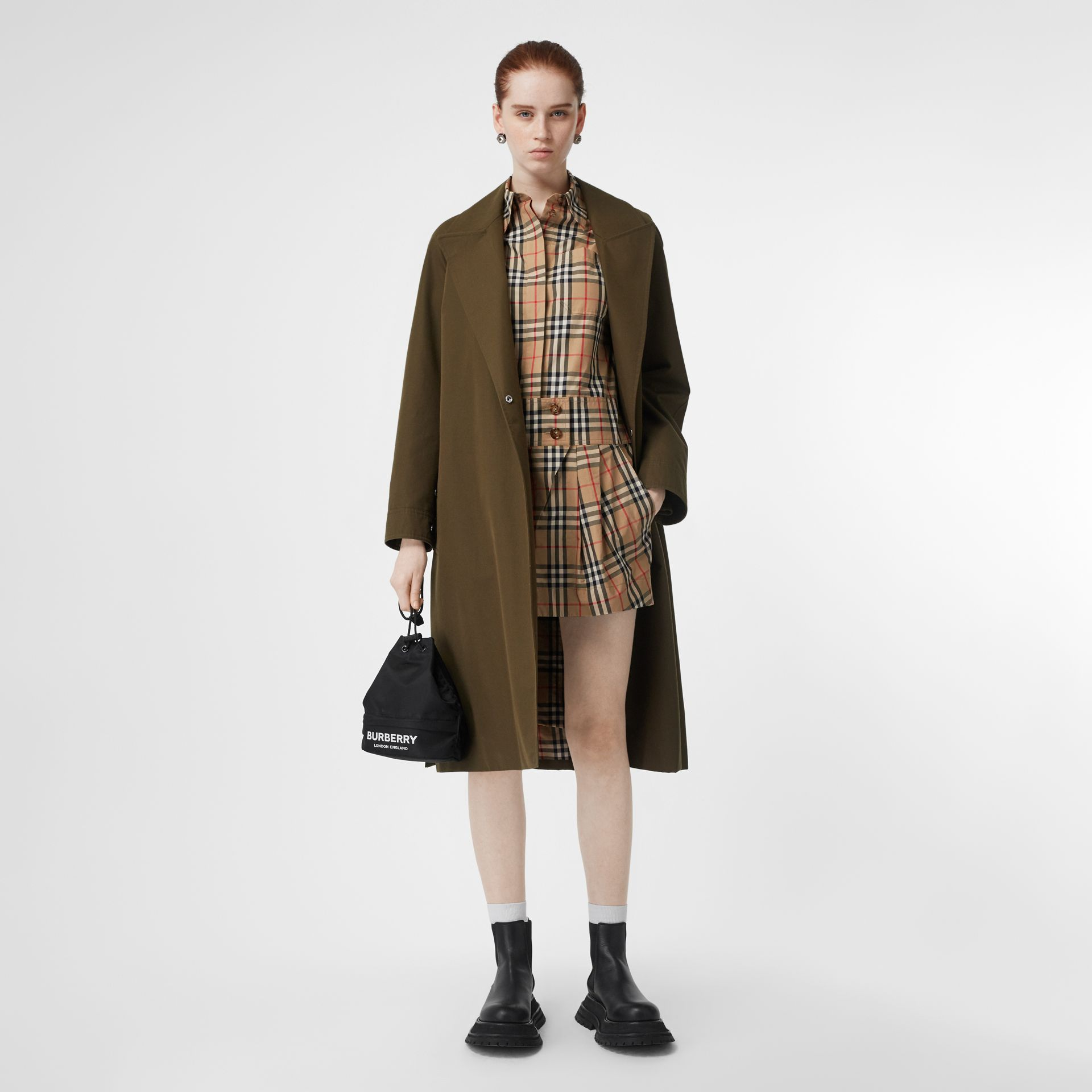 Short-sleeve Vintage Check Shirt Dress in Archive Beige - Women | Burberry - gallery image 5