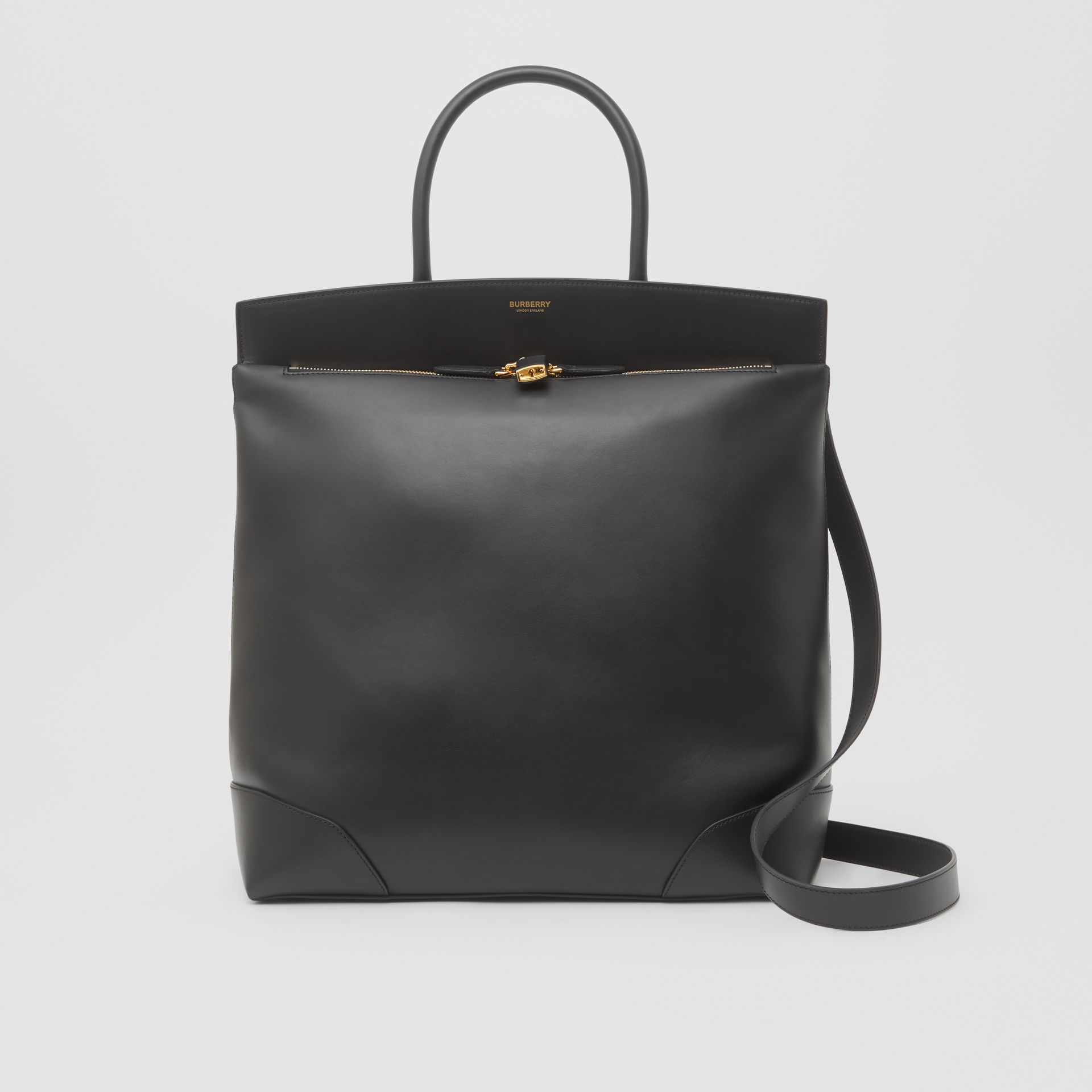 Leather Portrait Society Tote in Black - Men | Burberry - gallery image 0