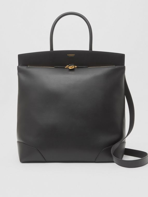 Leather Portrait Society Tote in Black