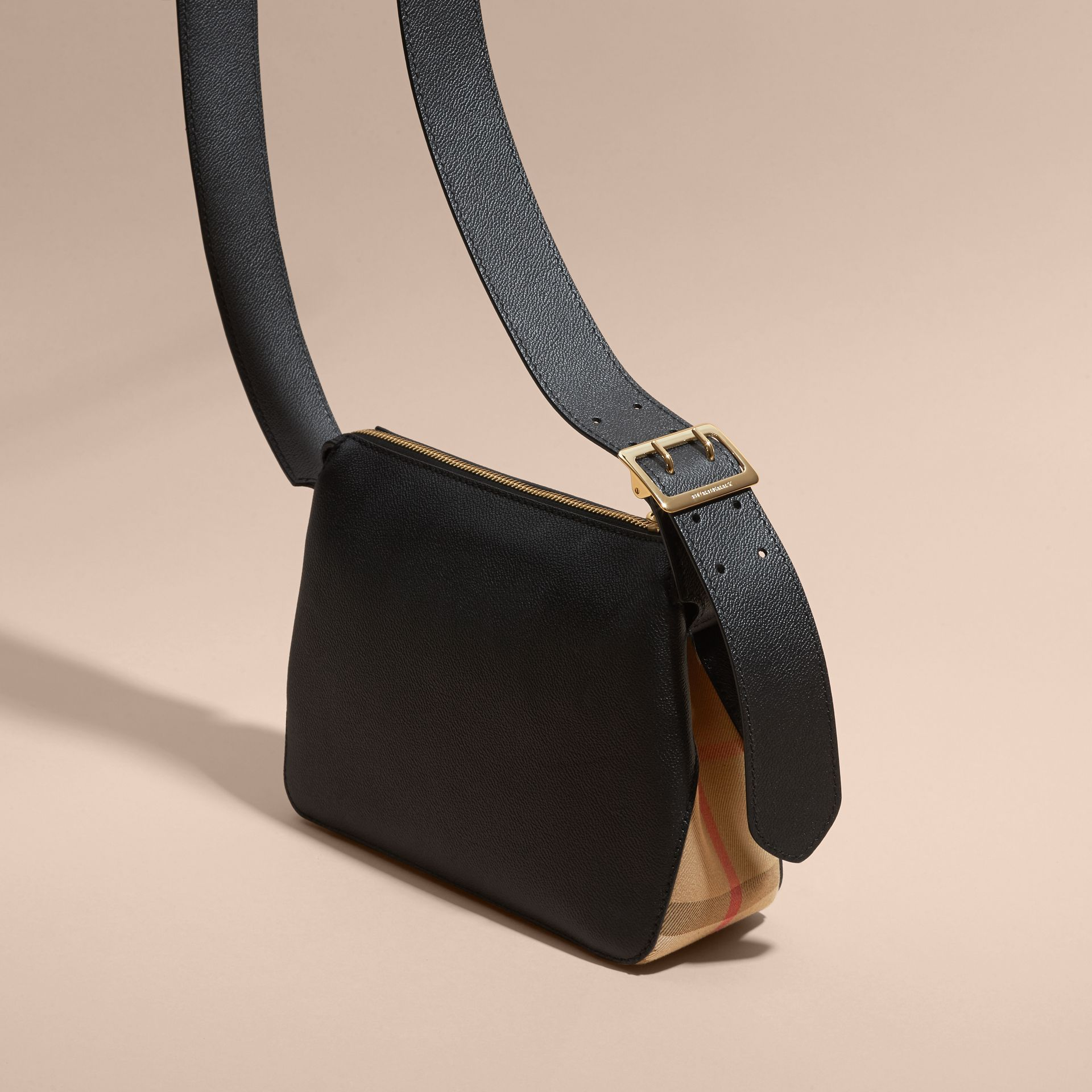 Buckle Detail Leather and House Check Crossbody Bag Black - gallery image 4