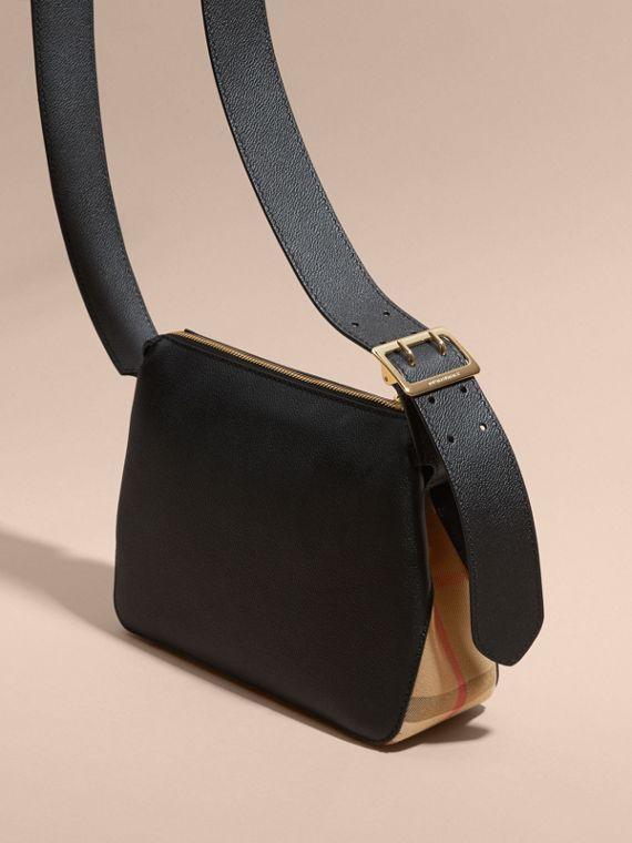 Buckle Detail Leather and House Check Crossbody Bag Black - cell image 3