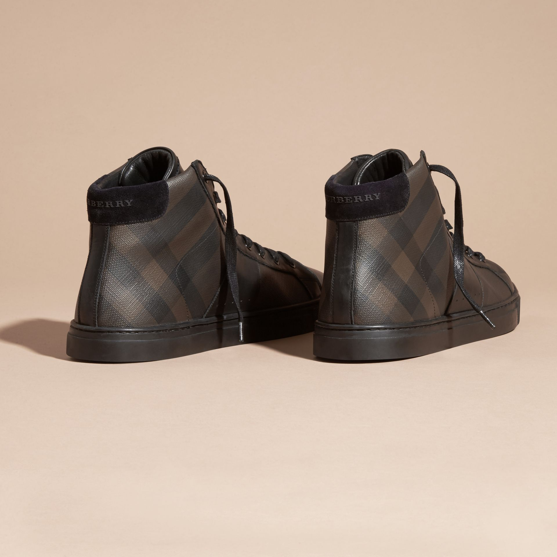 Smoked chocolate check London Check and Leather High-Top Trainers - gallery image 4