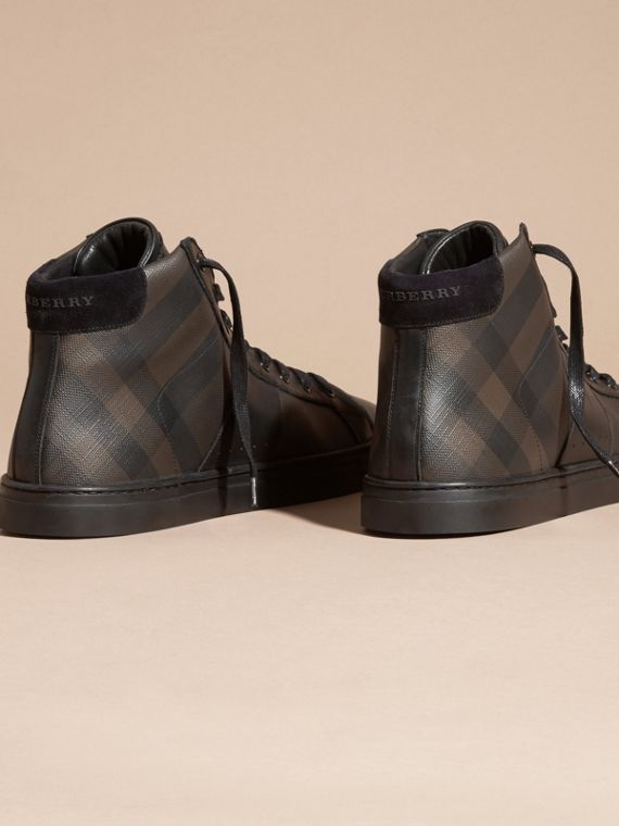 London Check and Leather High-Top Trainers in Smoked Chocolate - Men | Burberry Canada - cell image 3