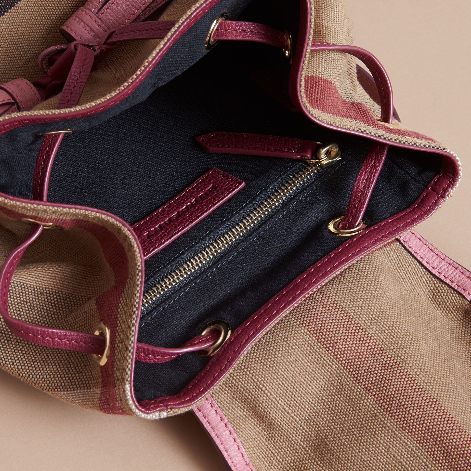 Weather Motif Canvas Check Mini Backpack in Mauve Pink | Burberry - gallery image 4