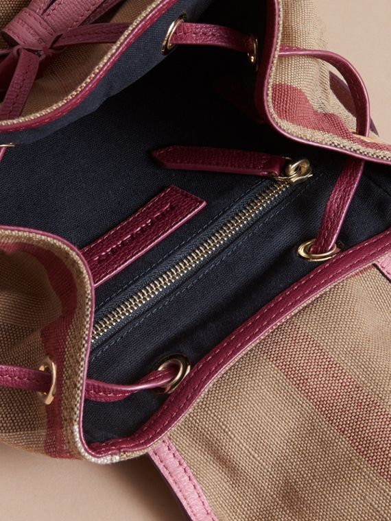 Weather Motif Canvas Check Mini Backpack in Mauve Pink | Burberry - cell image 3