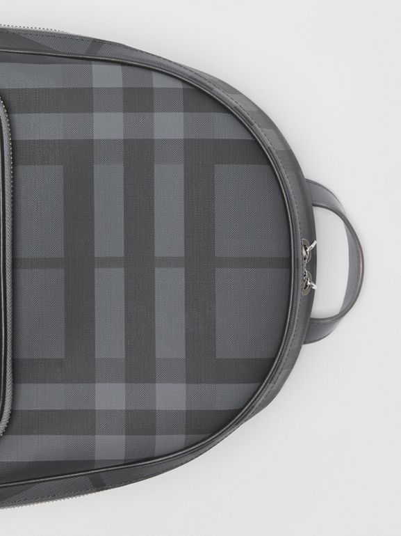 EKD London Check and Leather Backpack in Charcoal/black - Men | Burberry Singapore - cell image 1
