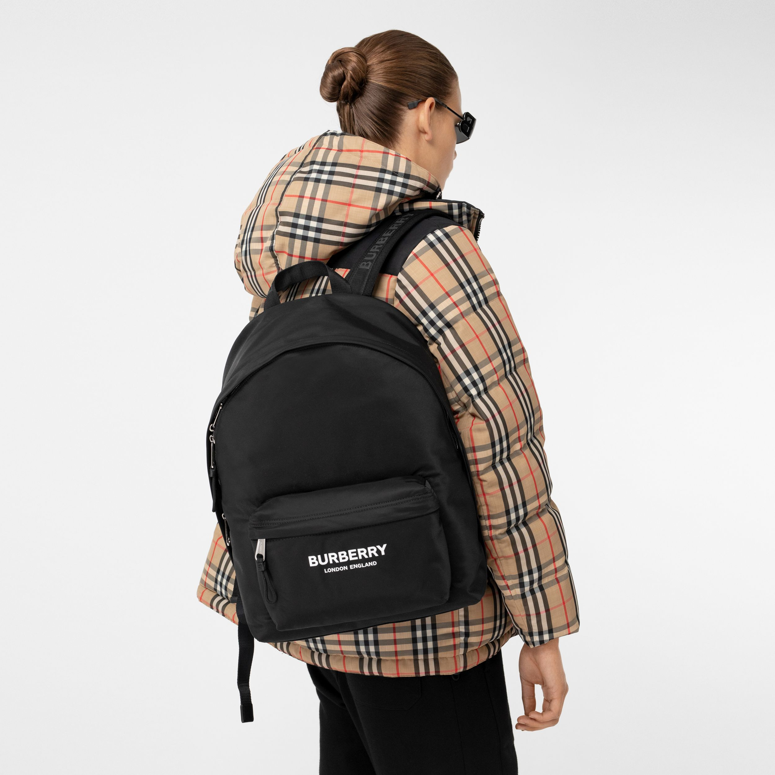 Logo Print ECONYL® Backpack in Black | Burberry - 3