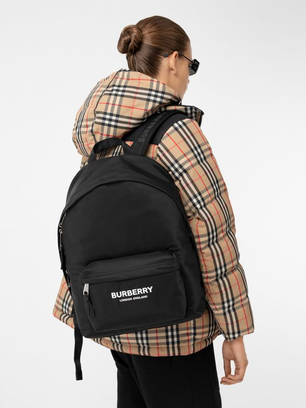 Logo Print ECONYL® Backpack in Black | Burberry - cell image 2