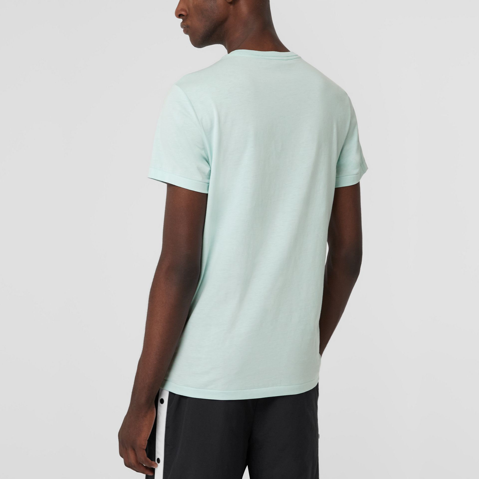 Cotton Jersey T-shirt in Pearl Blue - Men | Burberry - gallery image 2