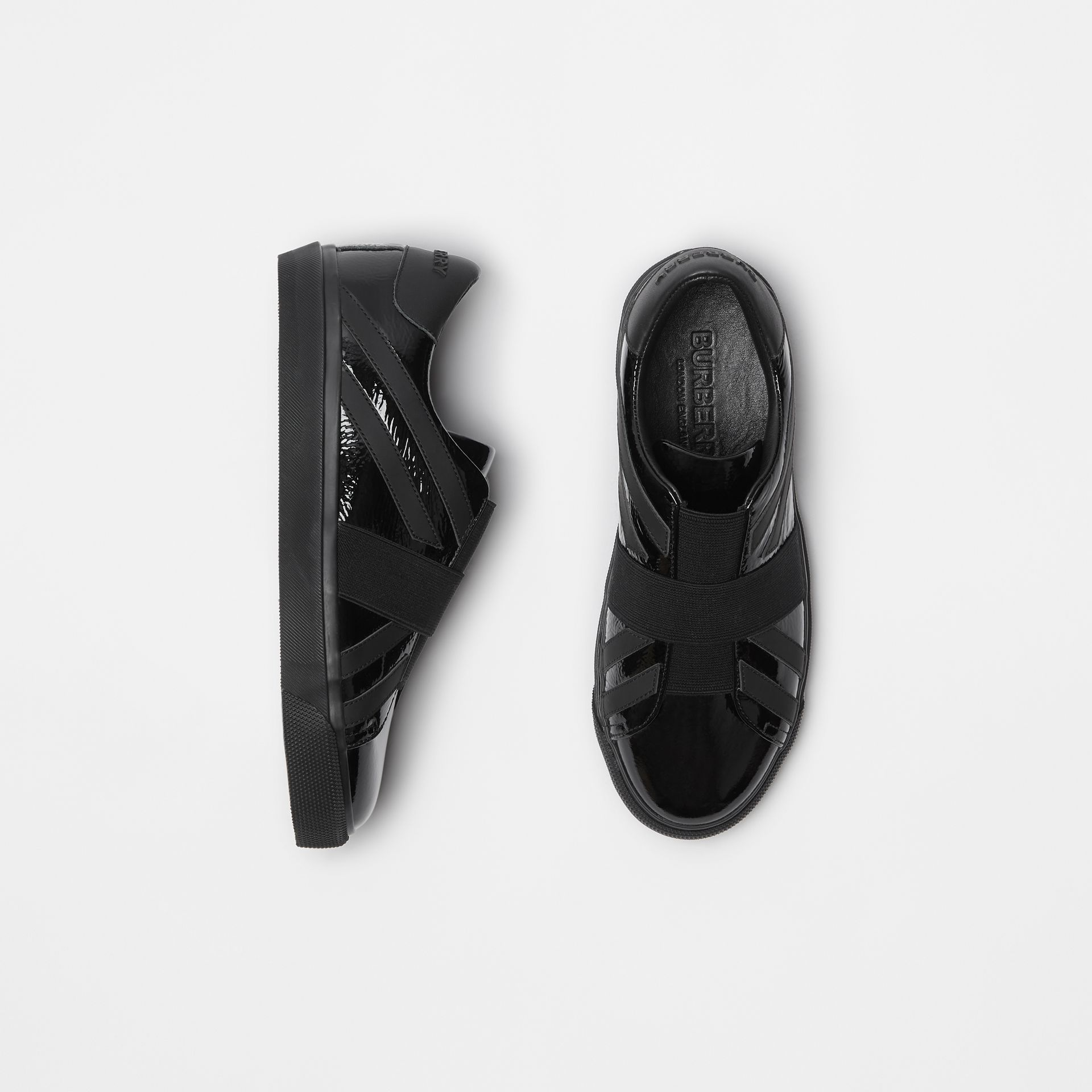 Union Jack Motif Slip-on Sneakers in Black - Women | Burberry - gallery image 0