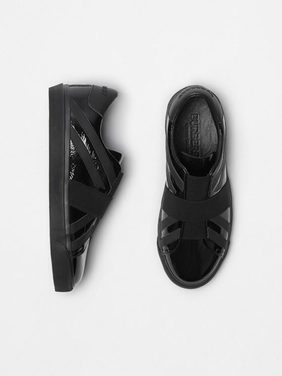 Sneakers sans lacets à motif UnionJack (Noir)
