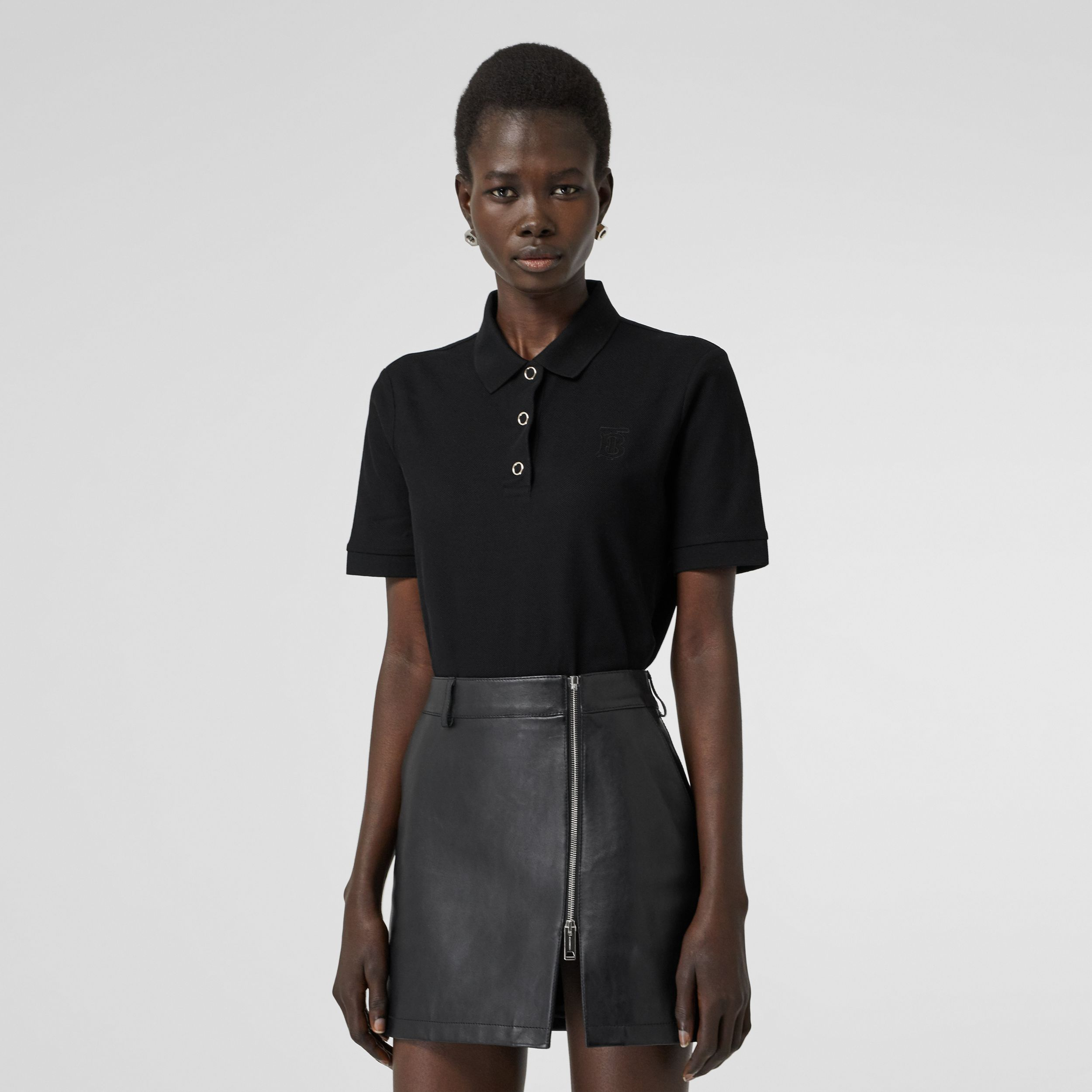 Monogram Motif Cotton Piqué Polo Shirt in Black - Women | Burberry - 1
