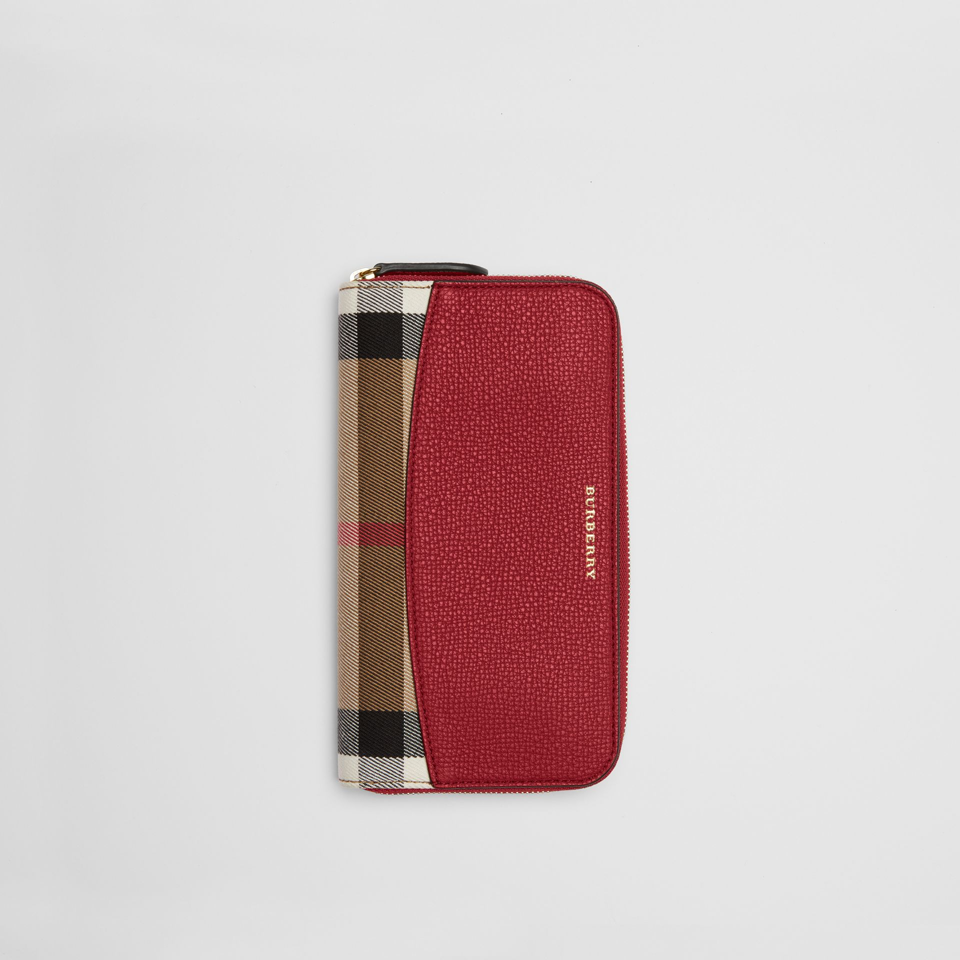 House Check and Leather Ziparound Wallet in Russet Red - Women | Burberry - gallery image 0