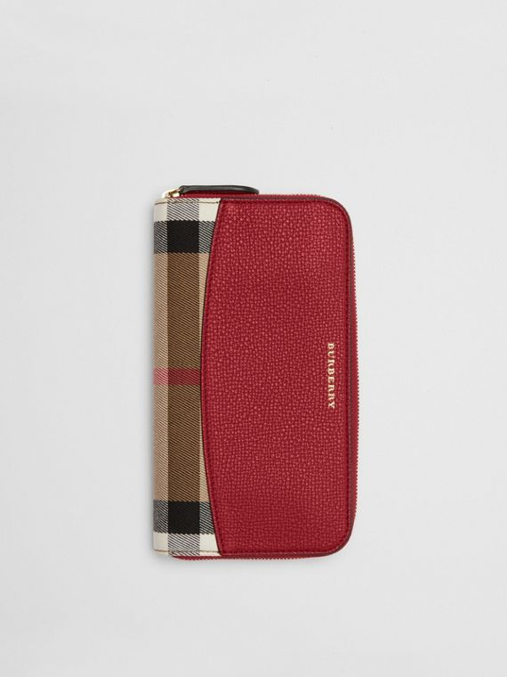 House Check and Leather Ziparound Wallet in Russet Red