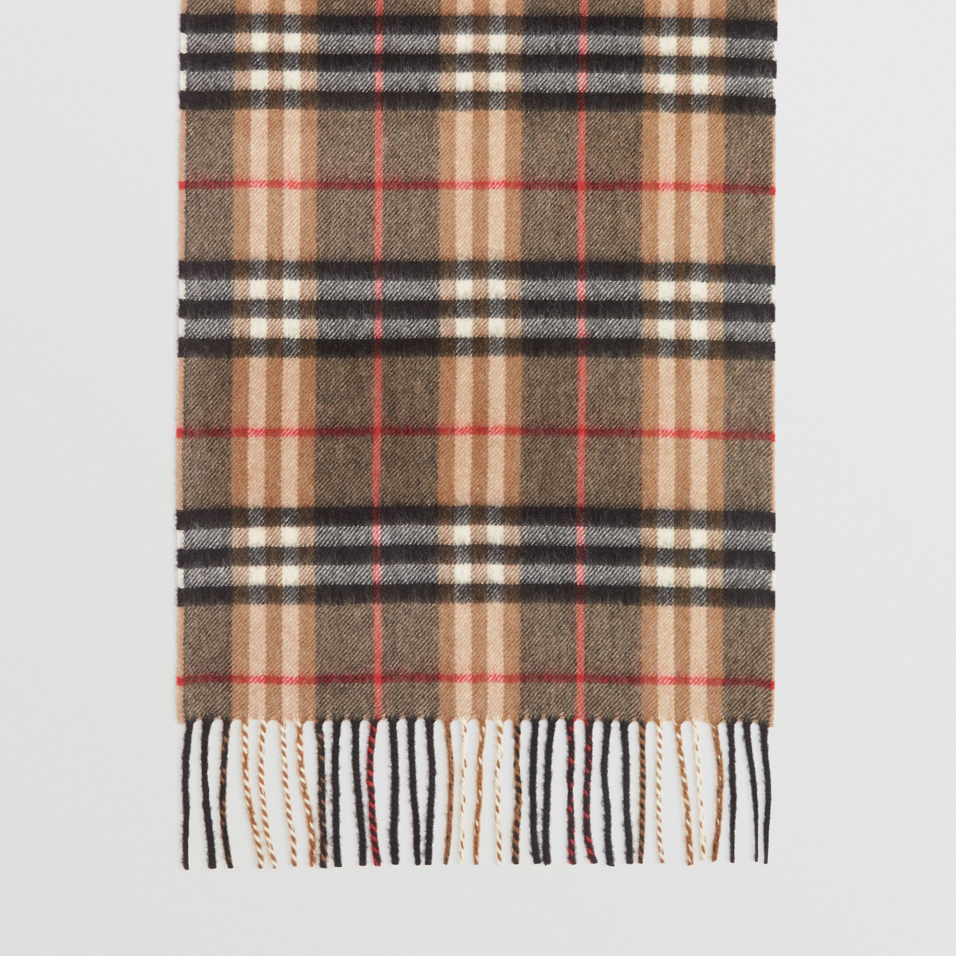 Check Cashmere Scarf in Camel | Burberry United Kingdom - gallery image 4