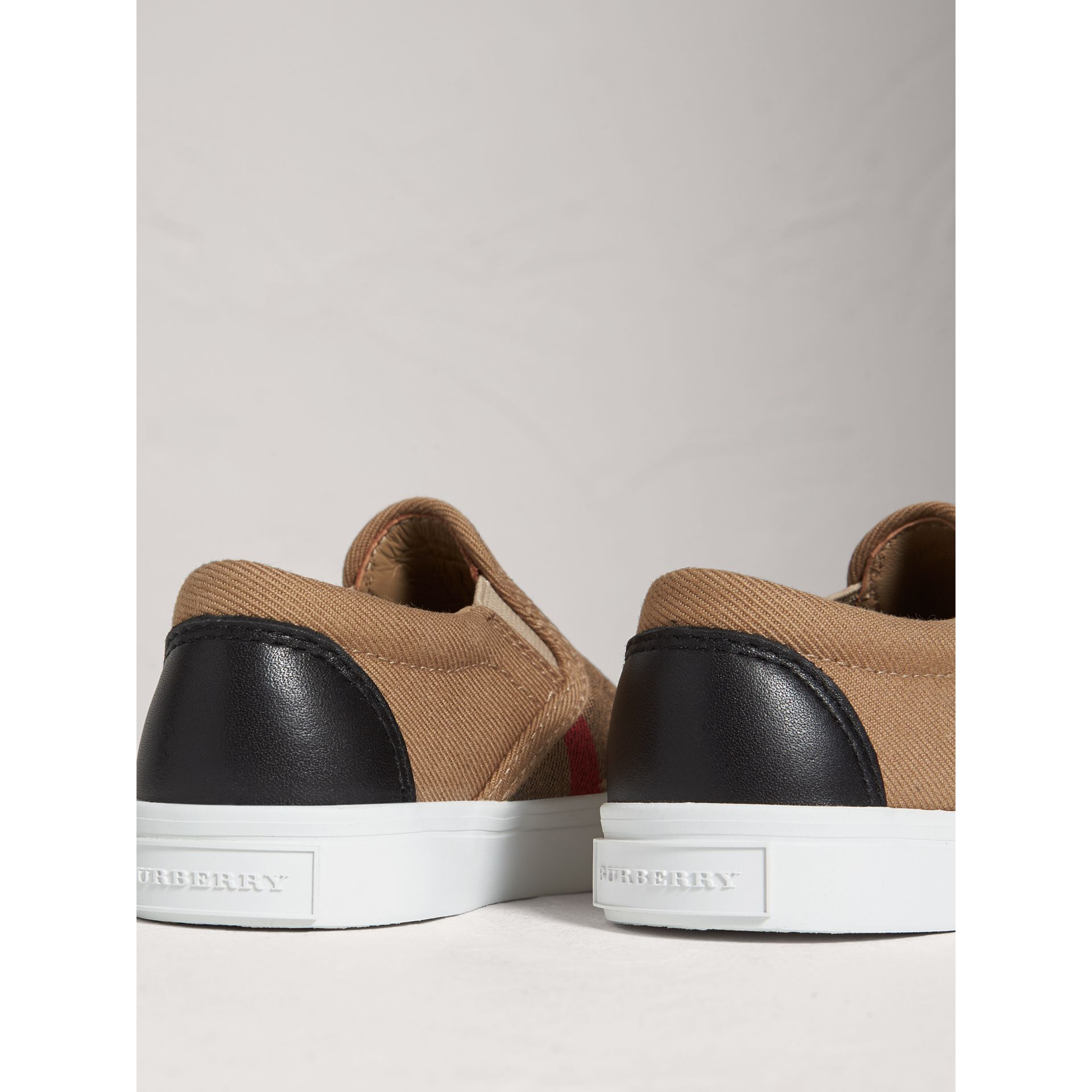 House Check and Leather Slip-on Trainers in Classic Check/optic White | Burberry Australia - gallery image 3