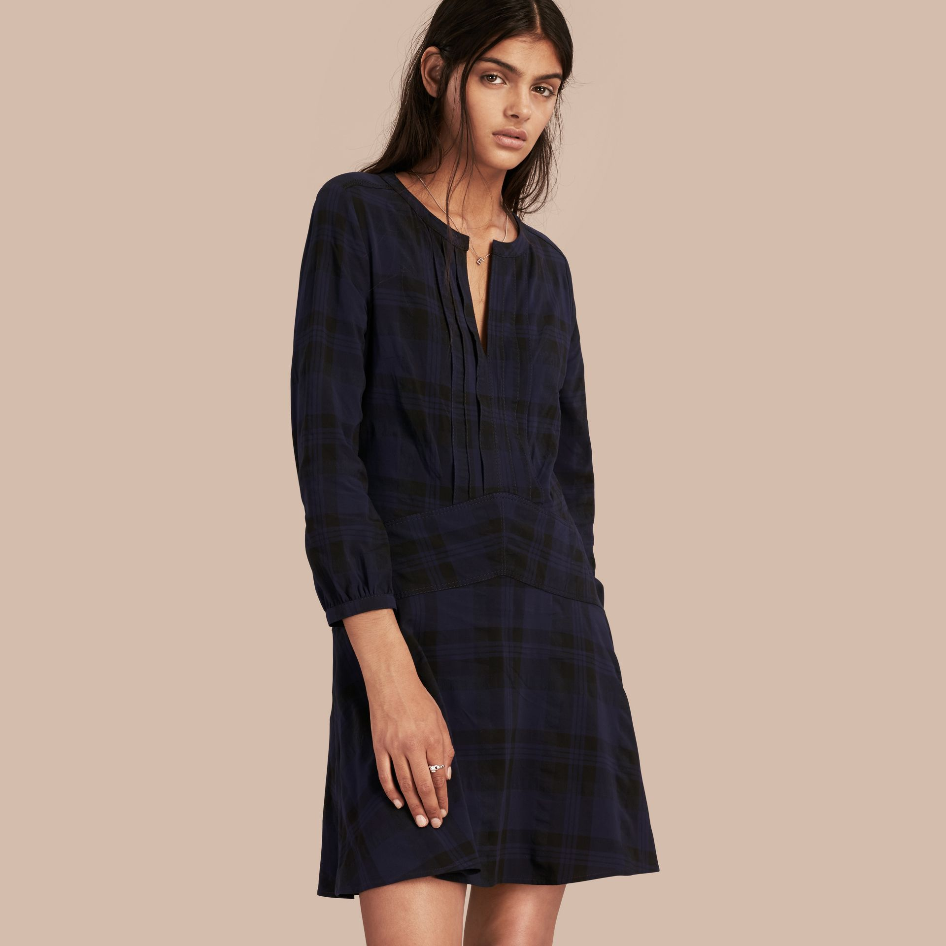 Ink blue Check Technical Cotton A-line Dress - gallery image 1