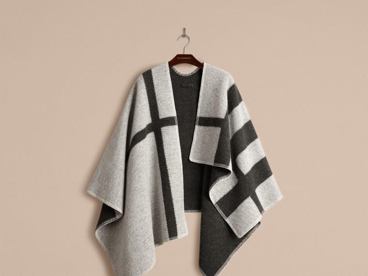 Bianco naturale Poncho coperta in lana e cashmere con motivo check Bianco Naturale - cell image 1