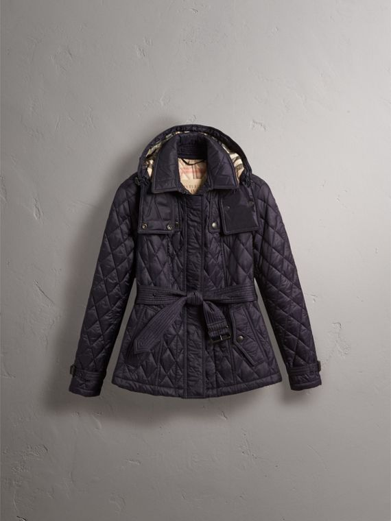Quilted Trench Jacket with Detachable Hood in Ink - Women | Burberry - cell image 3