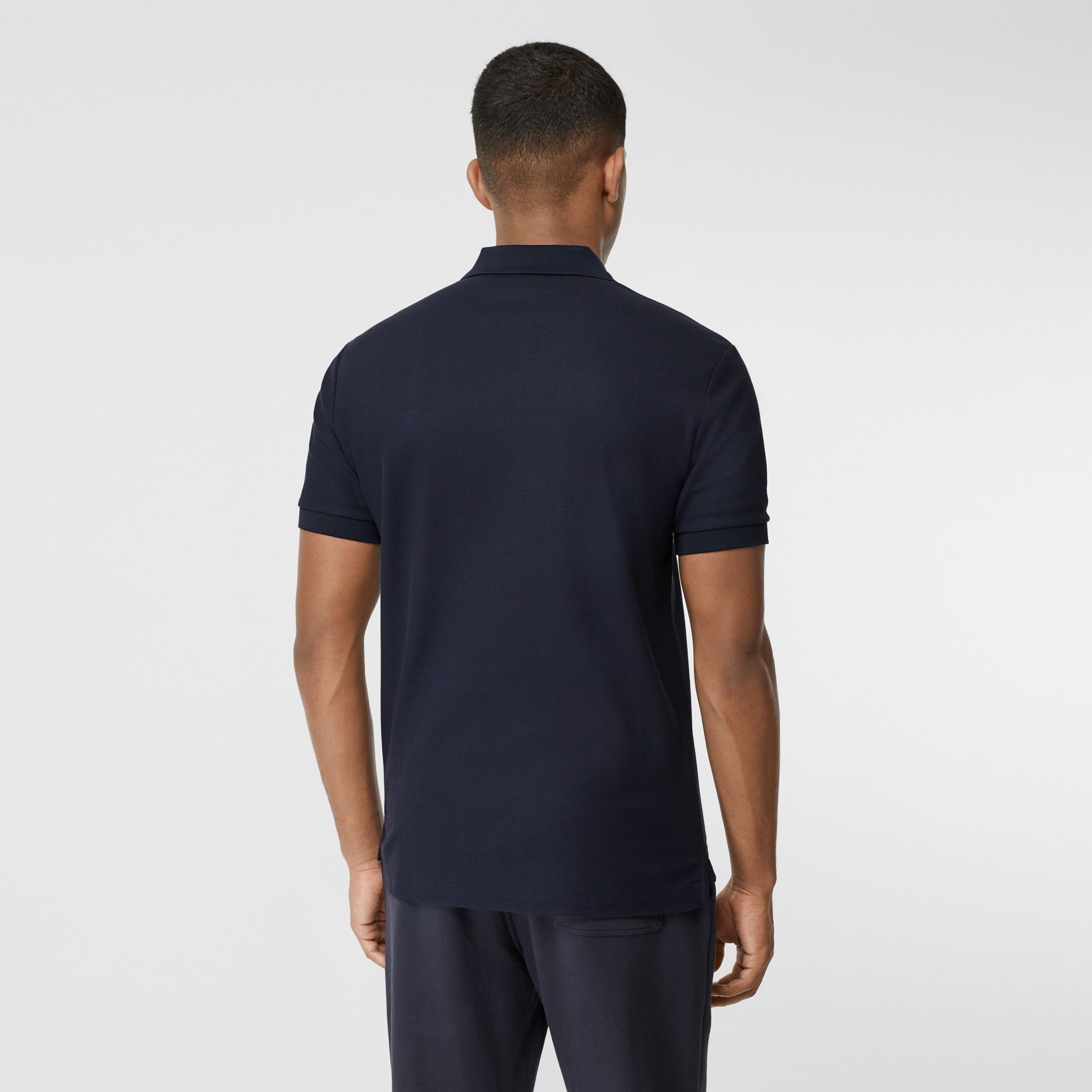 Contrast Logo Graphic Cotton Piqué Polo Shirt in Navy - Men | Burberry - gallery image 2
