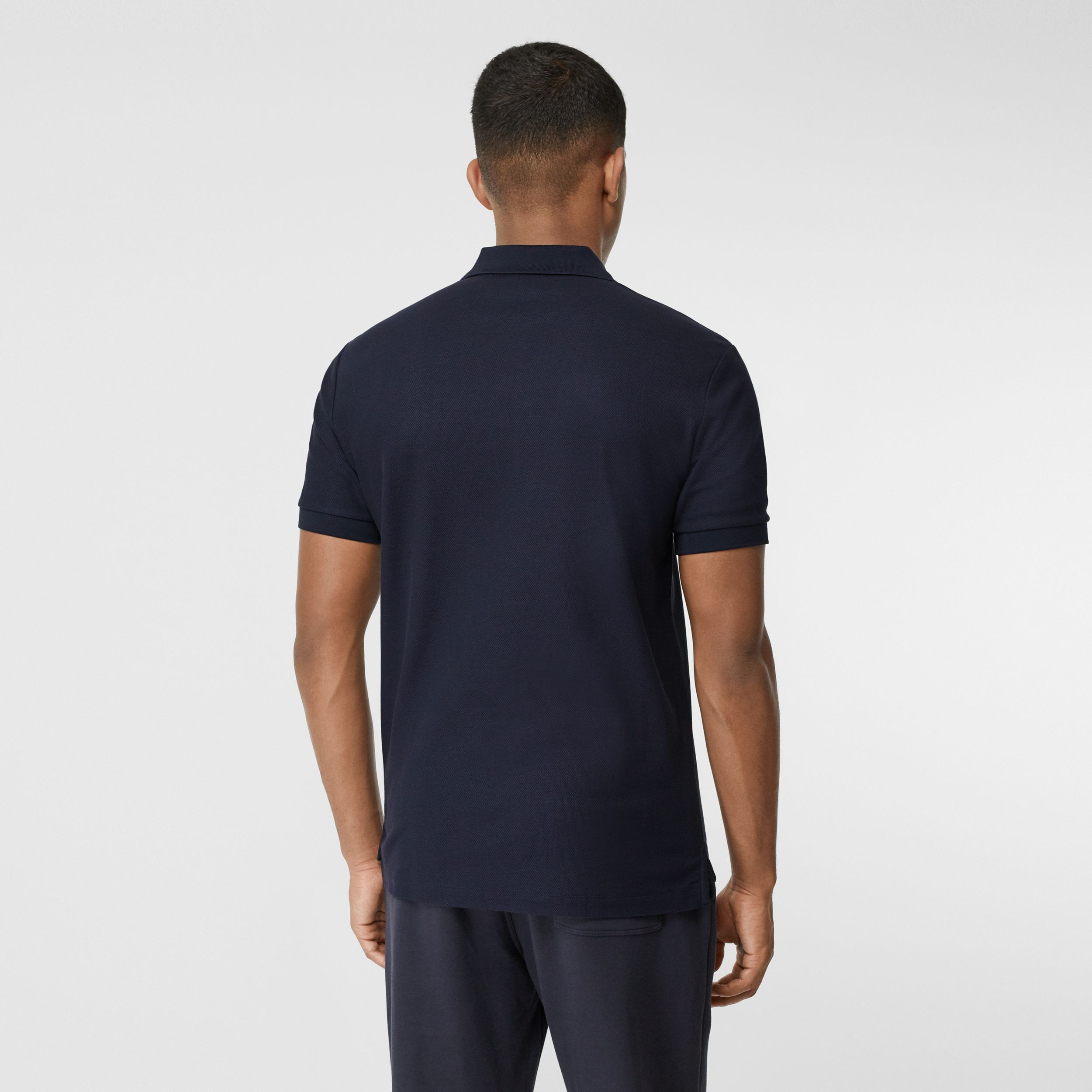 Contrast Logo Graphic Cotton Piqué Polo Shirt in Navy - Men | Burberry - 3