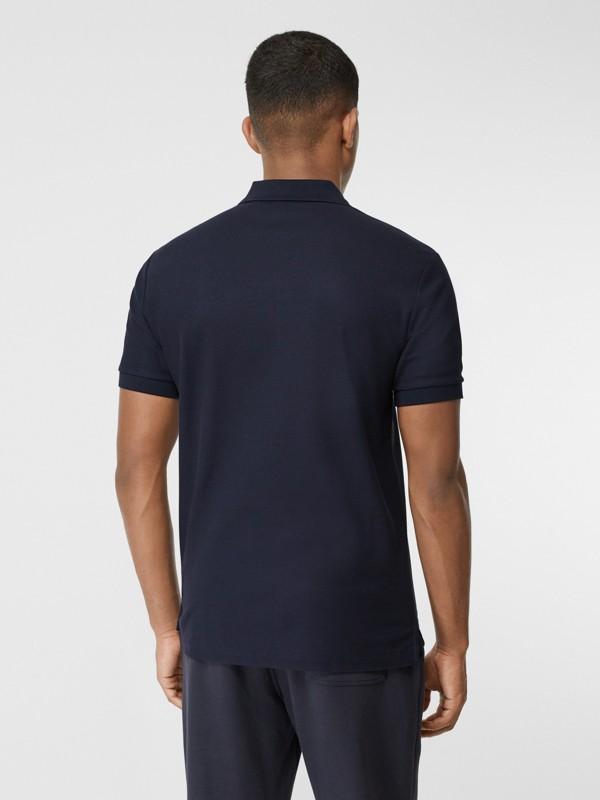 Contrast Logo Graphic Cotton Piqué Polo Shirt in Navy - Men | Burberry Hong Kong S.A.R - cell image 2
