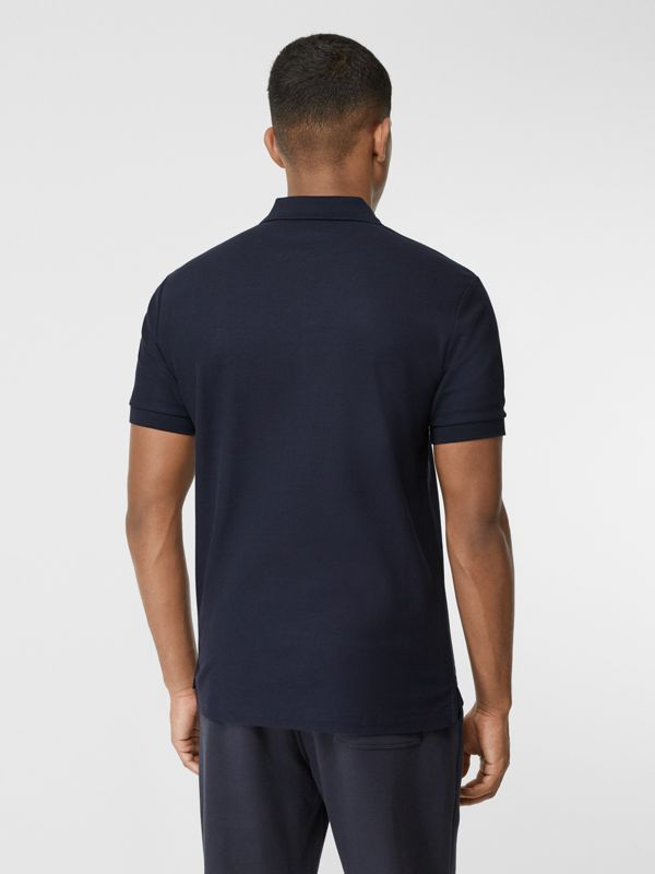 Contrast Logo Graphic Cotton Piqué Polo Shirt in Navy - Men | Burberry - cell image 2