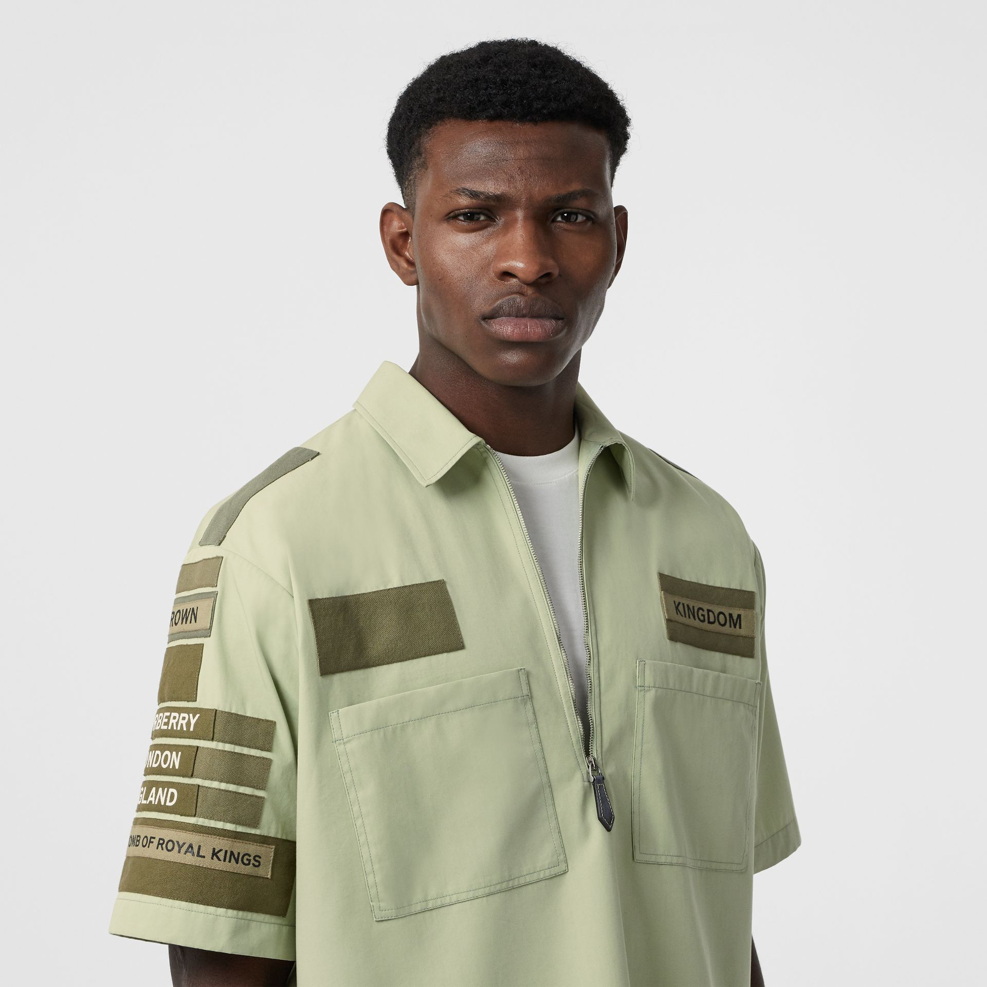 Short-sleeve Montage Print Military Cotton Shirt in Matcha | Burberry - gallery image 1
