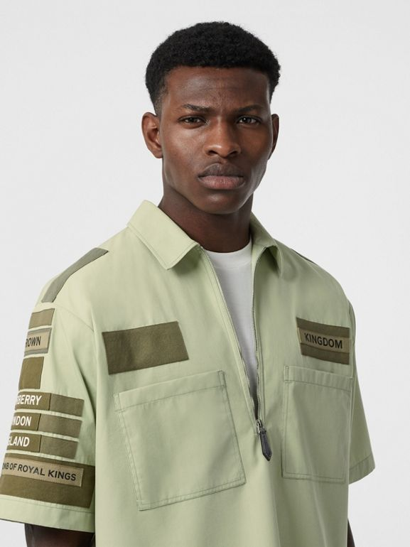 Short-sleeve Montage Print Military Cotton Shirt in Matcha | Burberry - cell image 1