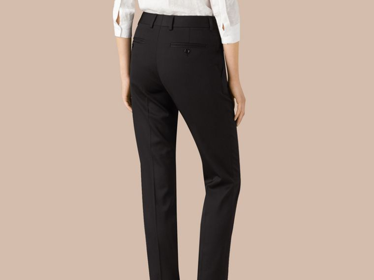 Black Wool Blend Tailored Trousers - cell image 2