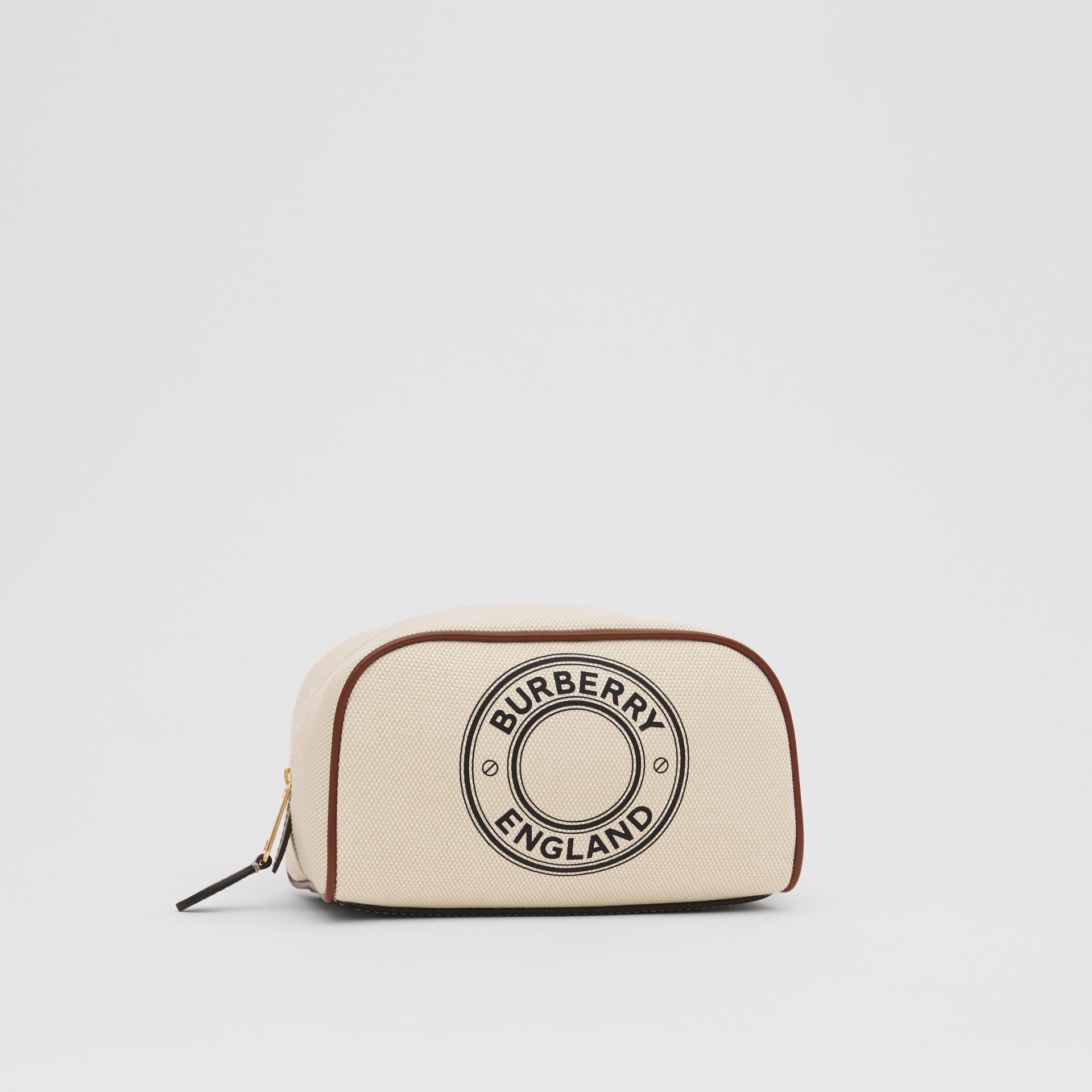 Small Logo Graphic Cotton Canvas Travel Pouch in White/tan - Women | Burberry United Kingdom - gallery image 6