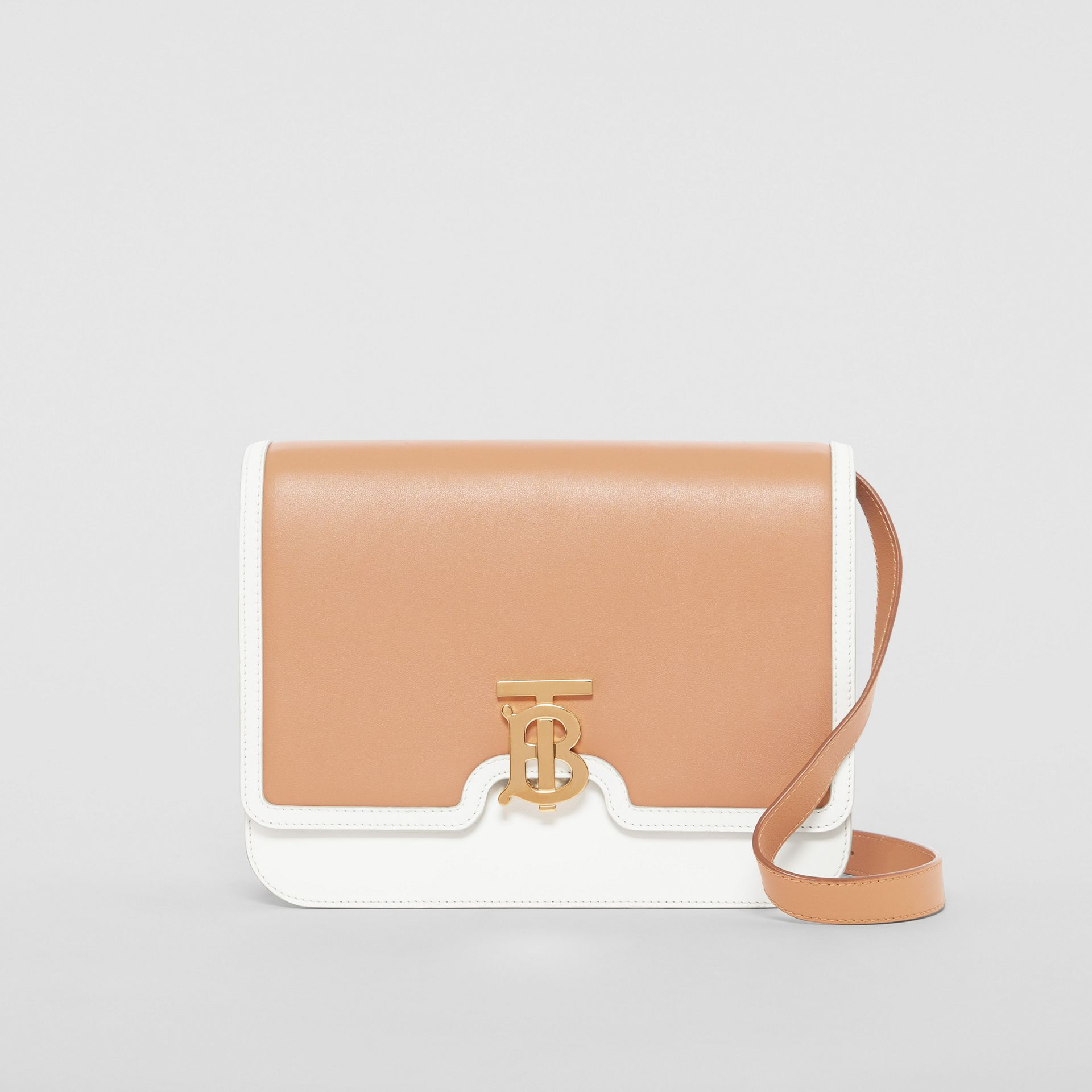 Medium Two-tone Leather TB Bag in Chalk White/light Camel - Women | Burberry United States - gallery image 0