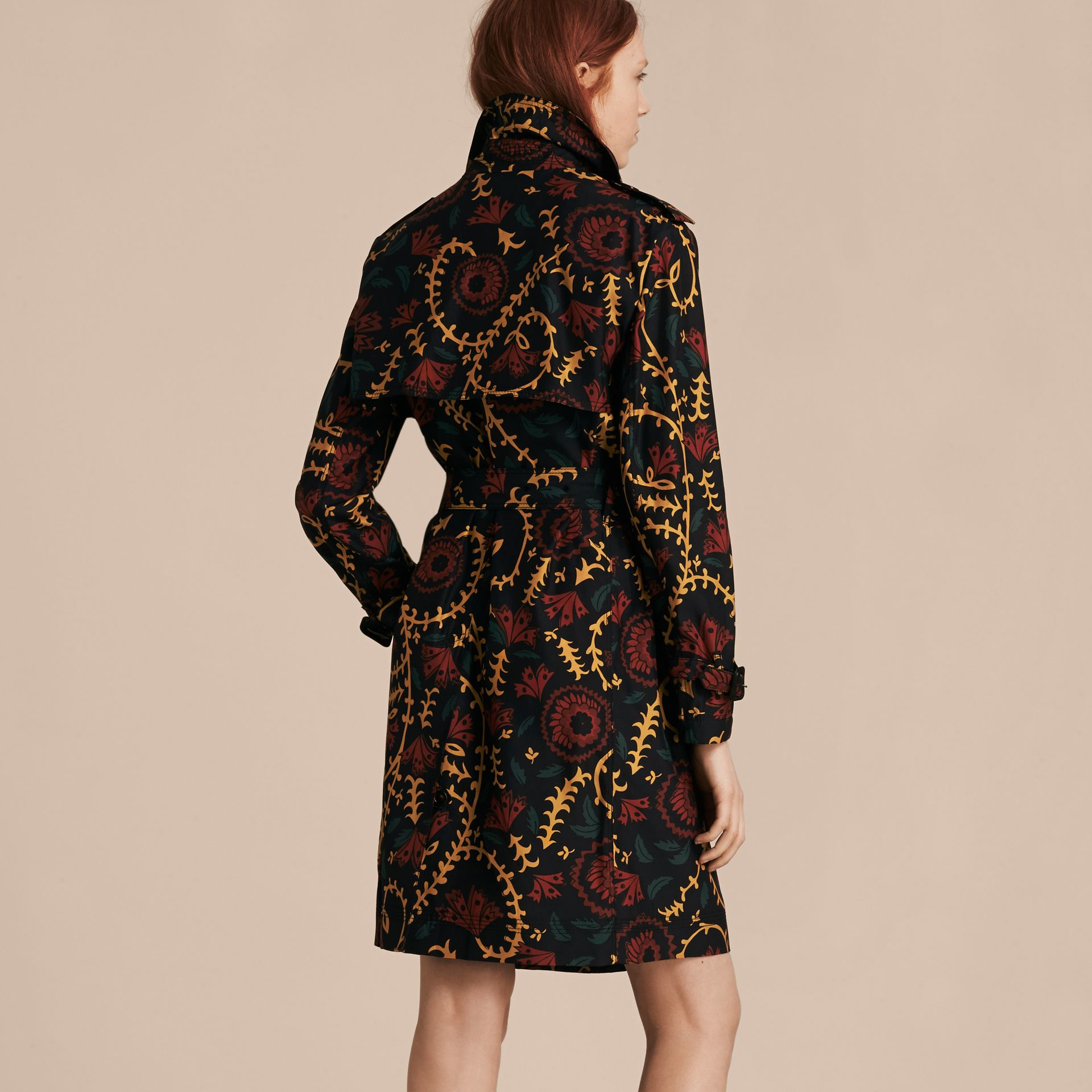 Navy Floral Print Silk Wool Trench Coat - gallery image 3