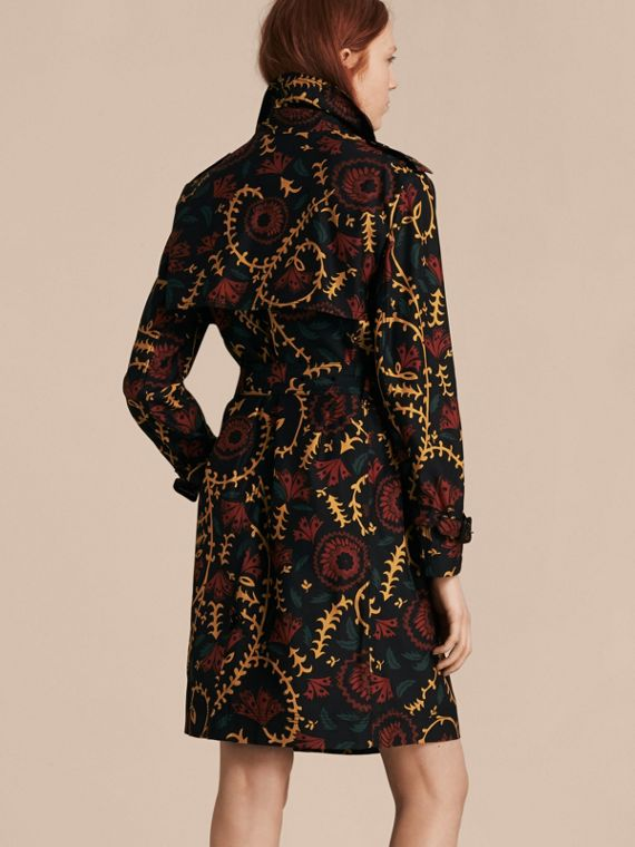 Navy Floral Print Silk Wool Trench Coat - cell image 2