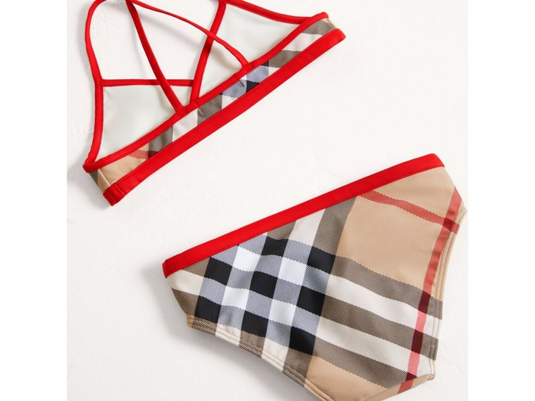 Check Bikini with Contrast Trim in New Classic - Girl | Burberry United Kingdom - cell image 2