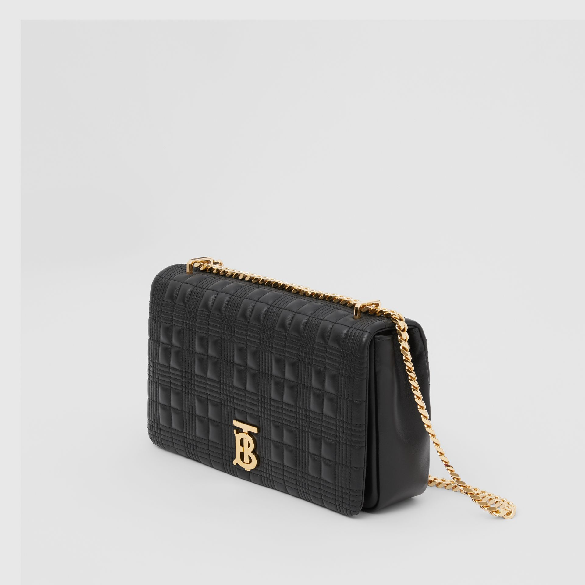 Medium Quilted Check Lambskin Lola Bag in Black - Women | Burberry - gallery image 2